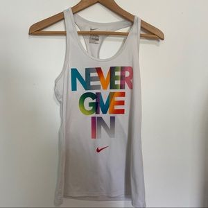 """Nike """"Never Give In"""" Rainbow Tank"""